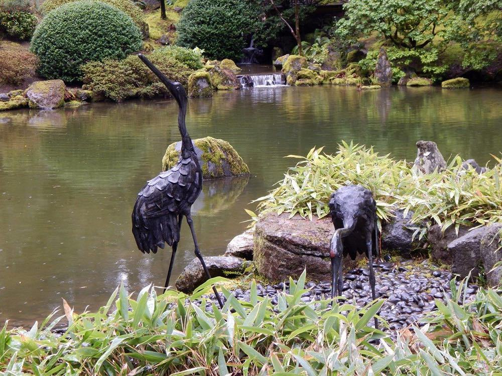 Pond and cranes in the Natural Garden