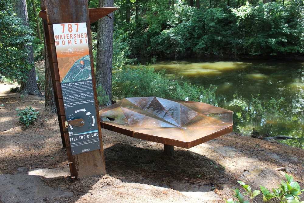 An interactive sculpture designed by Clemson University students memorializing the July 2013 storm that led to the rebuilding of the South Carolina Botanical Garden.