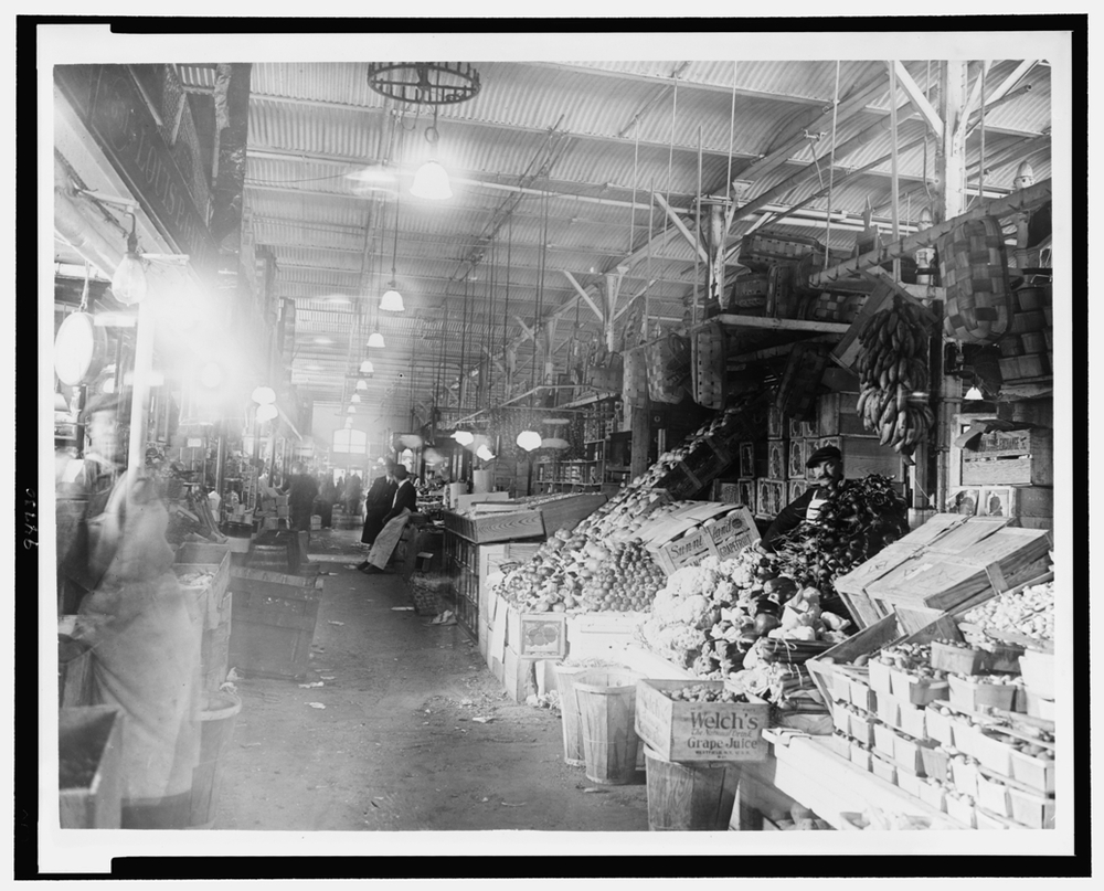 Center Market in Washington, D.C., image taken between 1909 and 1932. Washington, D.C.'s largest market was built in 1871 and demolished in 1931 to make way for the new National Archives building. Vendors from the surrounding area rented stalls both inside and outside of the market and sold produce, meat, and other food items. Library of Congress, Prints & Photographs Division, National Photo Company Collection, LC-USZ62-94730.