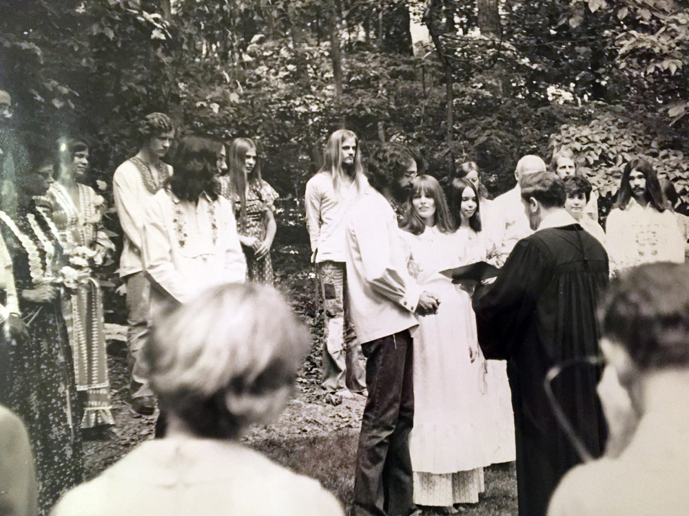 Larry and Camy, center, were married in her parents' backyard in Gaithersburg, Maryland on June 2, 1973.