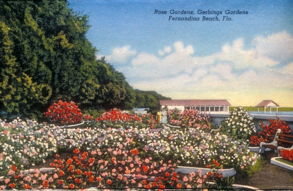 A colorized photo postcard of the rose garden and covered oyster pier at Gerbing Gardens, circa 1945-1947. Smithsonian Institution, Archives of American Gardens, Garden Club of America Collection.