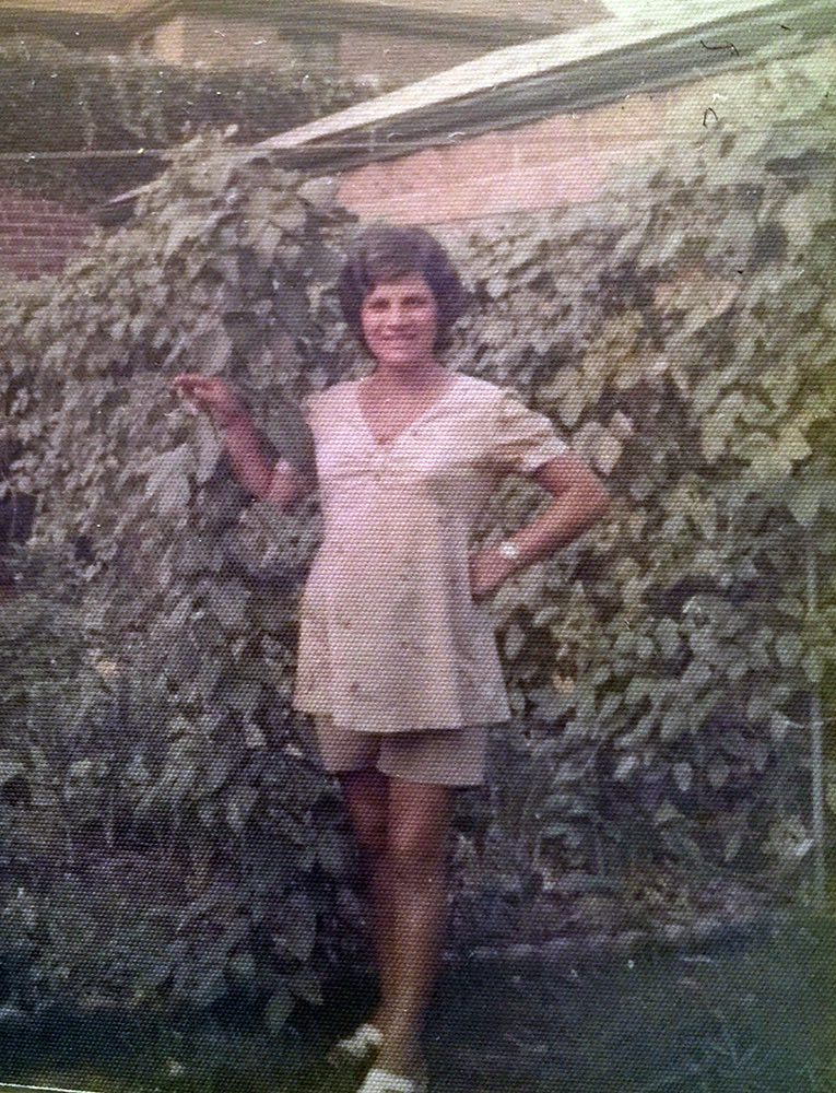 My mom, Rosa Ranieri, in the garden.
