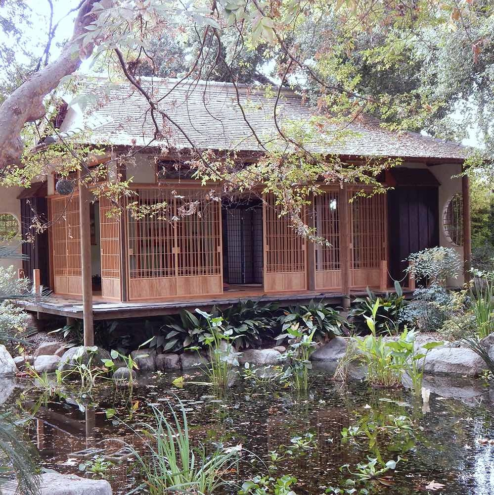 The formal Japanese teahouse at the Storrier Stearns Japanese Garden