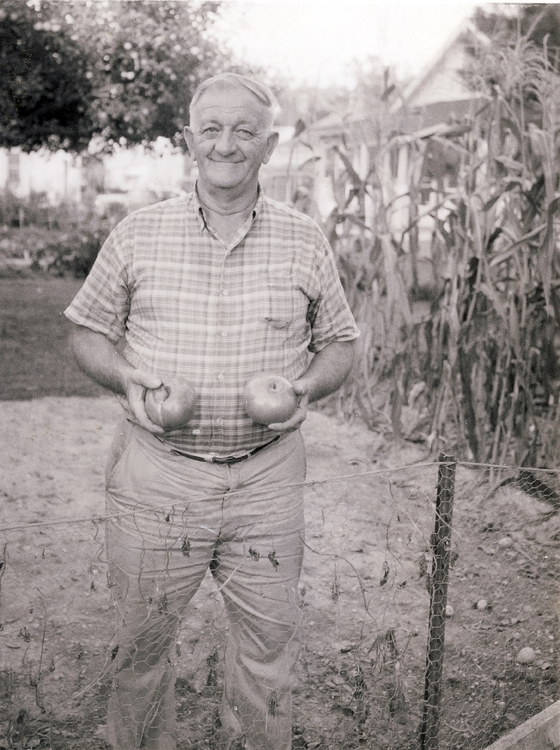 Harry Sr. with his prized tomatoes