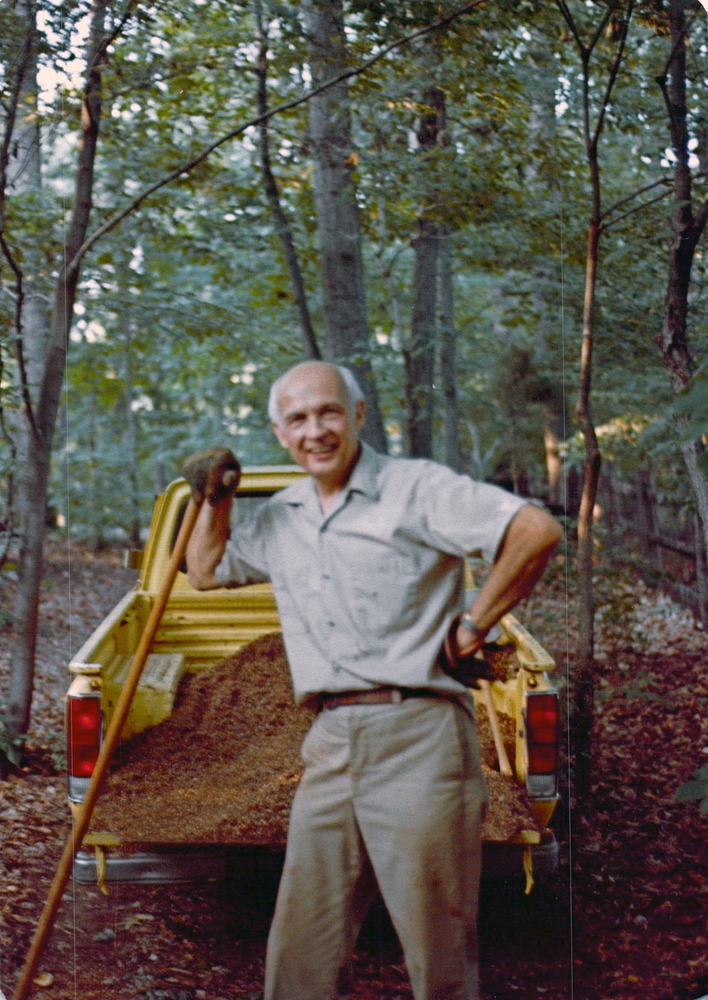 Hank, father of Camy, in the middle of one of his many backyard projects at his Gaithersburg, Maryland home, circa early 1980s.