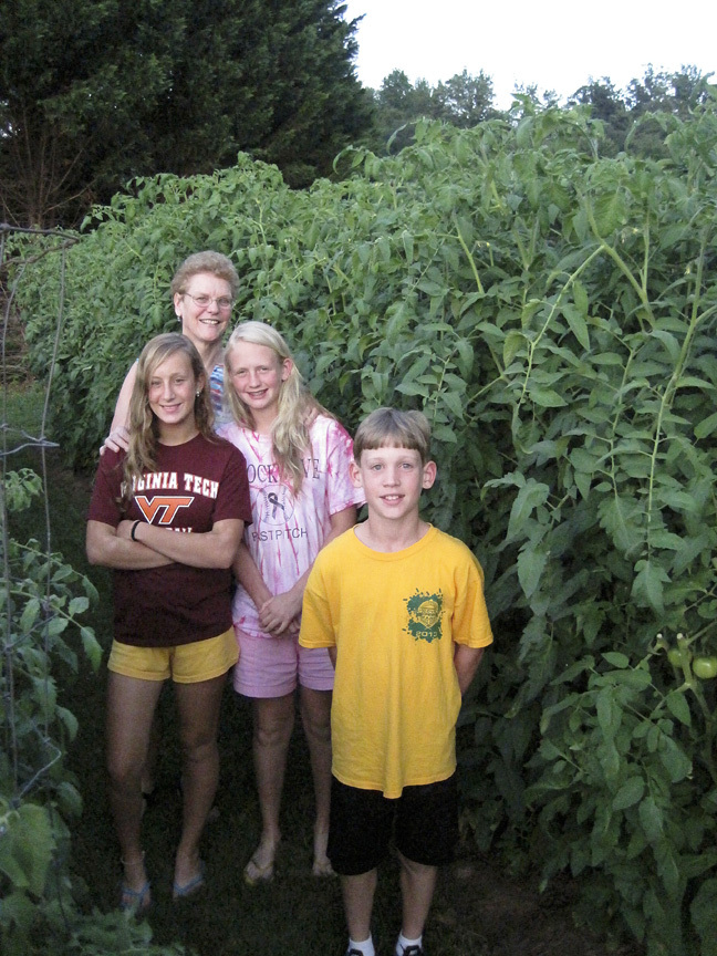My children and sister in our garden in Nelson County, Virginia, 2013.