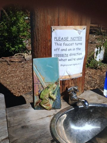 A donated Dannenbeck frog tile rests next to the hand washing station.
