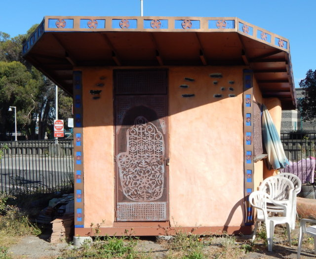 Garden shed was constructed of earth-friendly materials by Merritt College's Sustainable Building class.