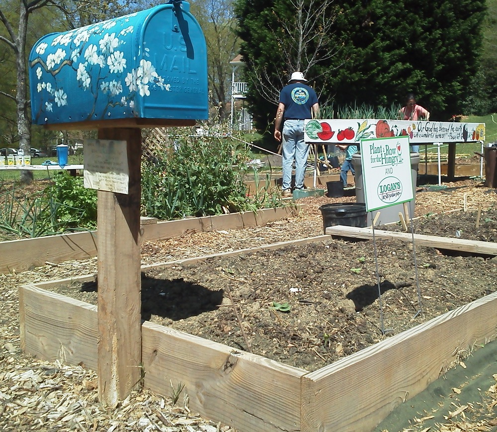 Raised garden beds in the Kirk Community Garden in Cary, North Carolina.