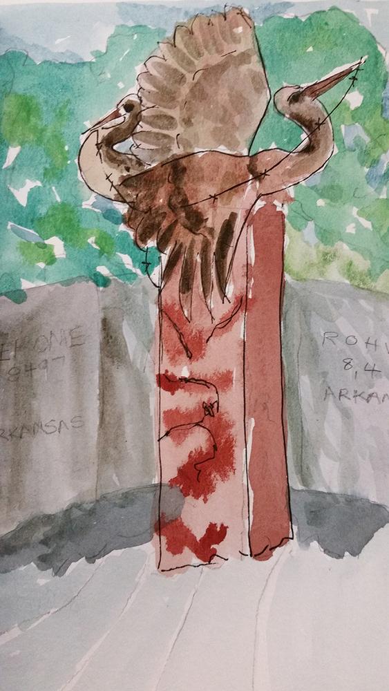 Watercolor by Carol Morris of Nina Akamu's sculpture