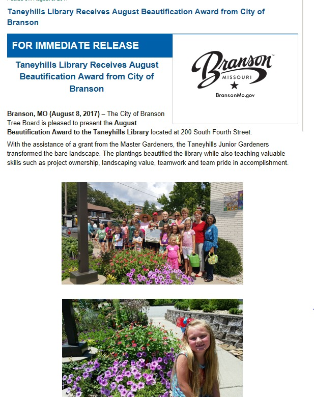 Taneyhills Library receives beautification award