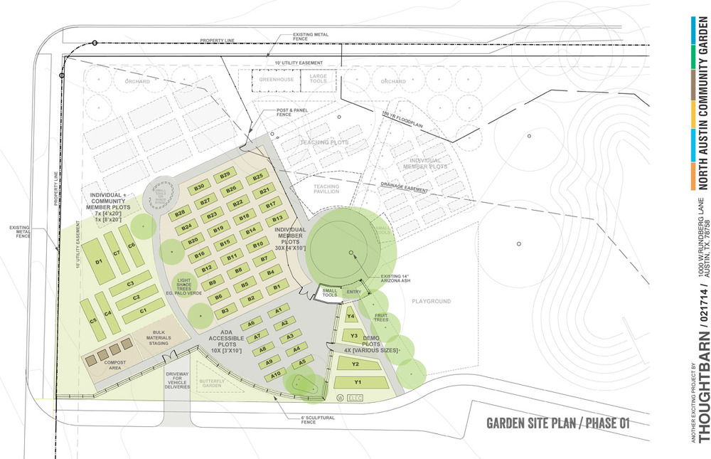 This was the design proposed by artists Lucy Begg and Robert Gay for the North Austin Community Garden. The colored parts of the plan have already been built, and the gray sections are future plans for the rest of the garden. © Thoughtbarn, 2013.