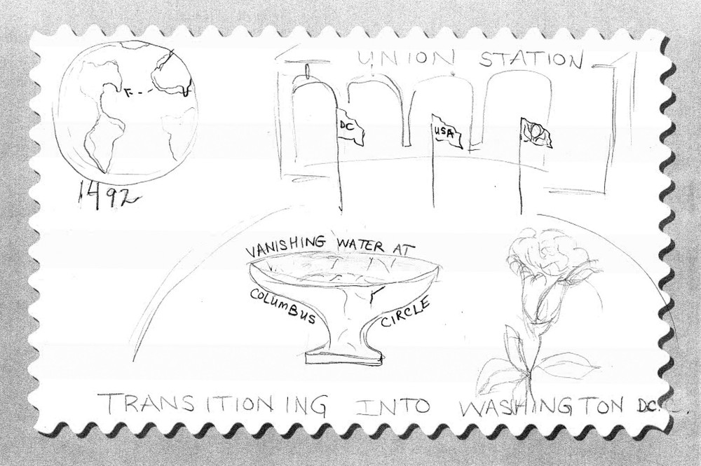 The teachers created this design for a semi-postal stamp to bring attention to the role of Columbus Plaza as a gateway to Washington, D.C., and its conservation issues.