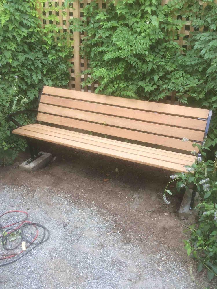 In-ground bench at the Essex Garden