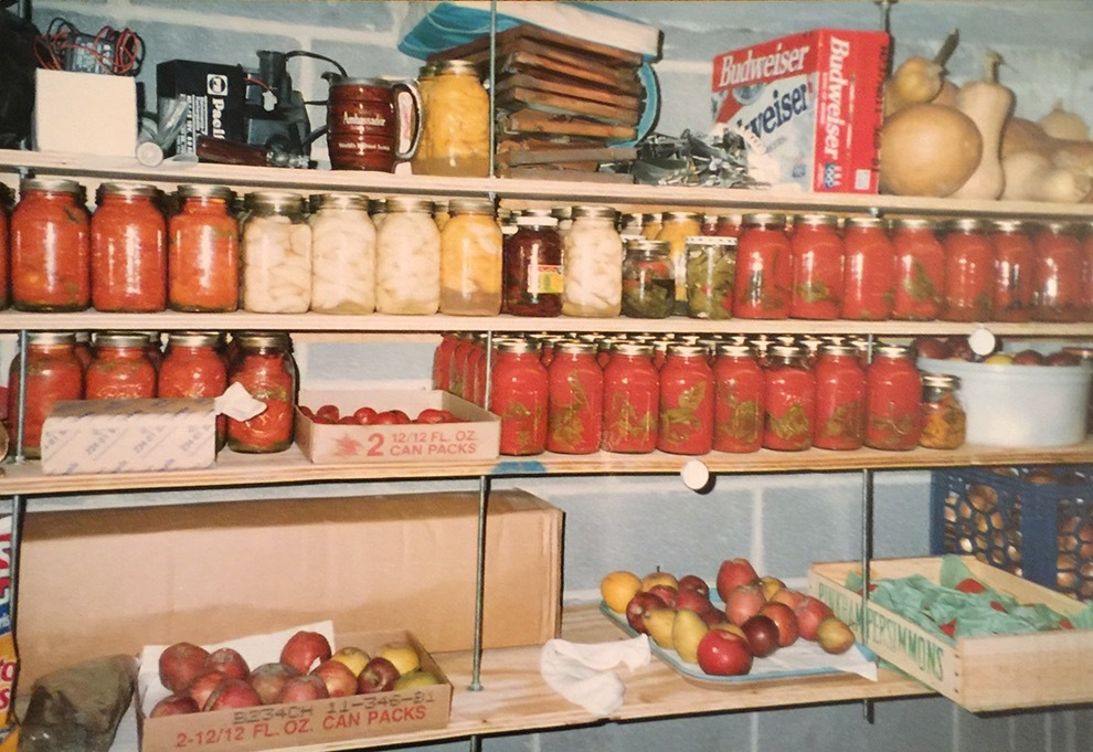 The cold storage room with storage for fruit, vegetables, and jars of food preserved from the garden