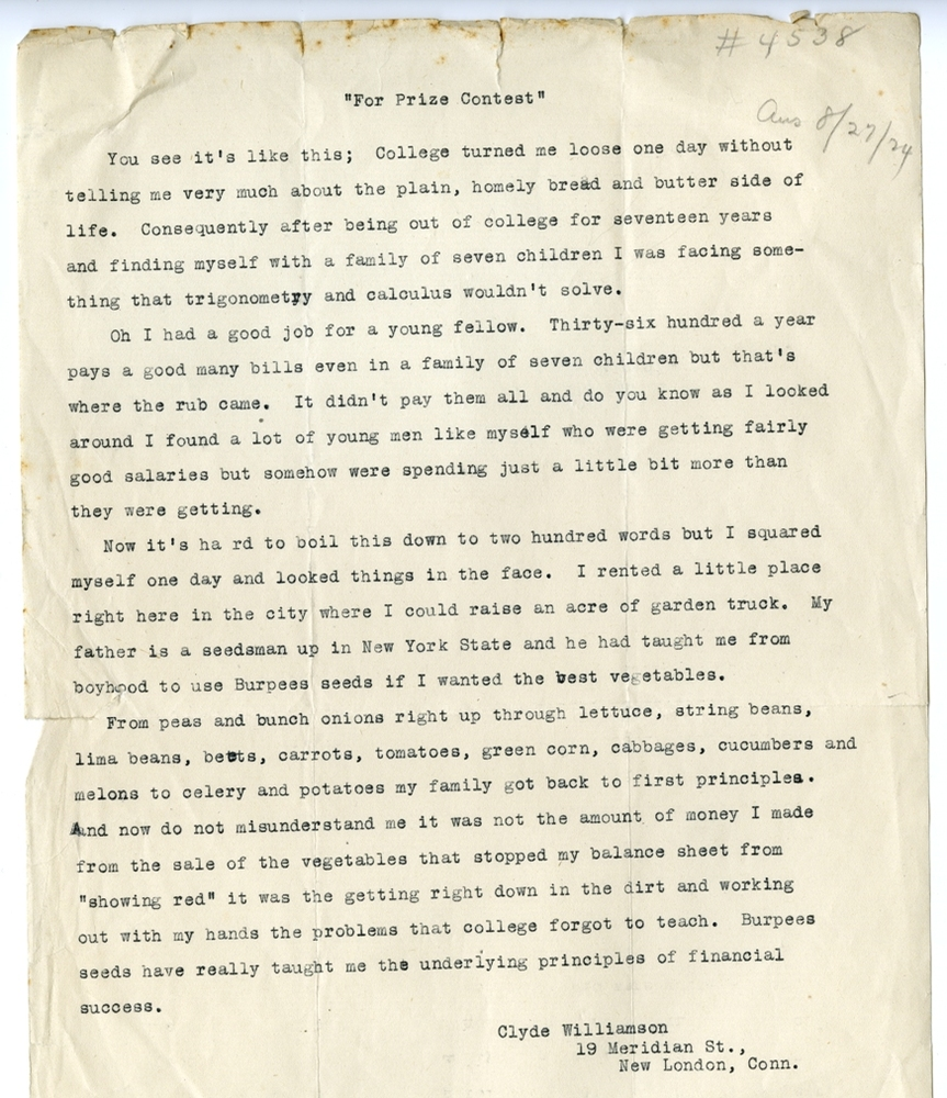 Clyde Williamson's contest letter to Burpee & Company, circa 1924. Smithsonian Institution, Archives of American Gardens, W. Atlee Burpee & Company Records.