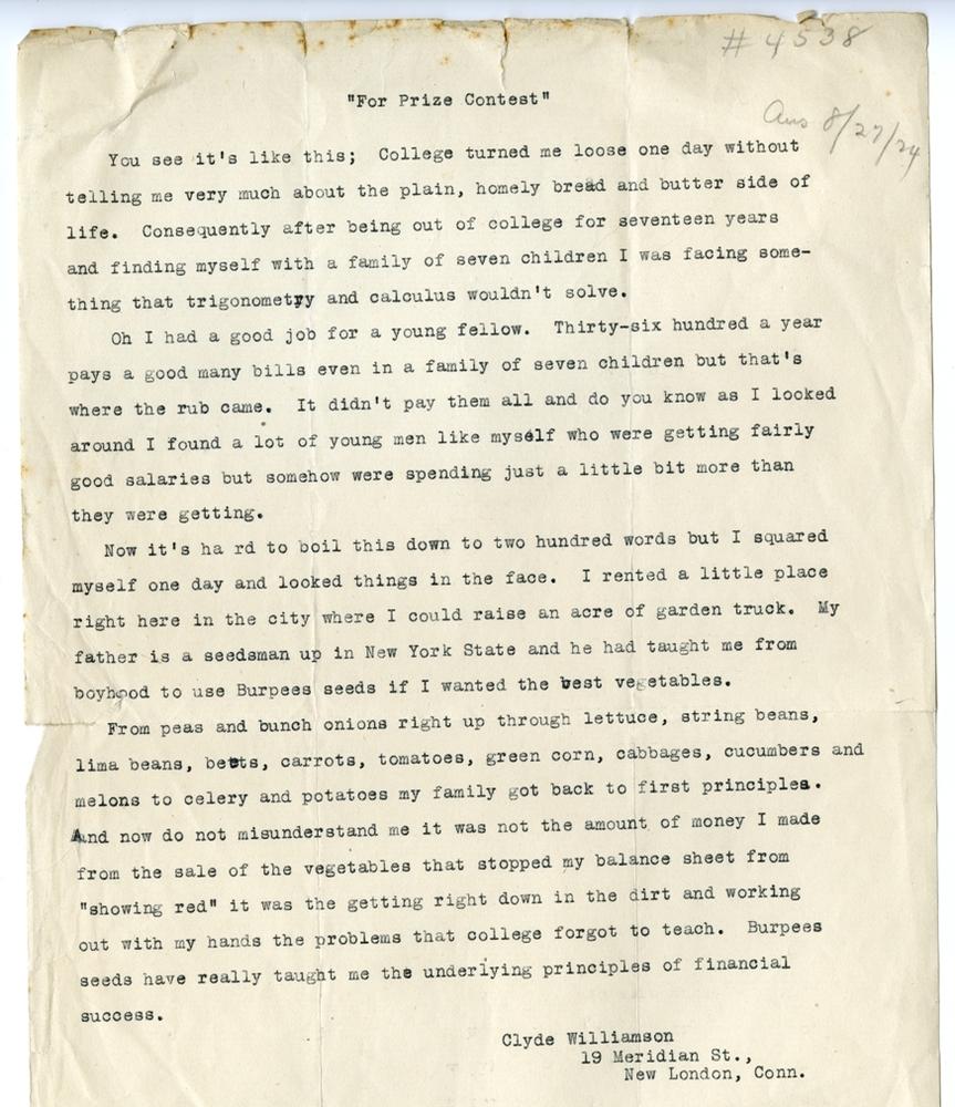 Clyde Williamson's contest letter to Burpee & Company, circa 1924