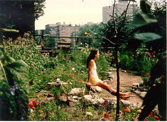 Liz Christy relaxes in the community garden, 1970s.