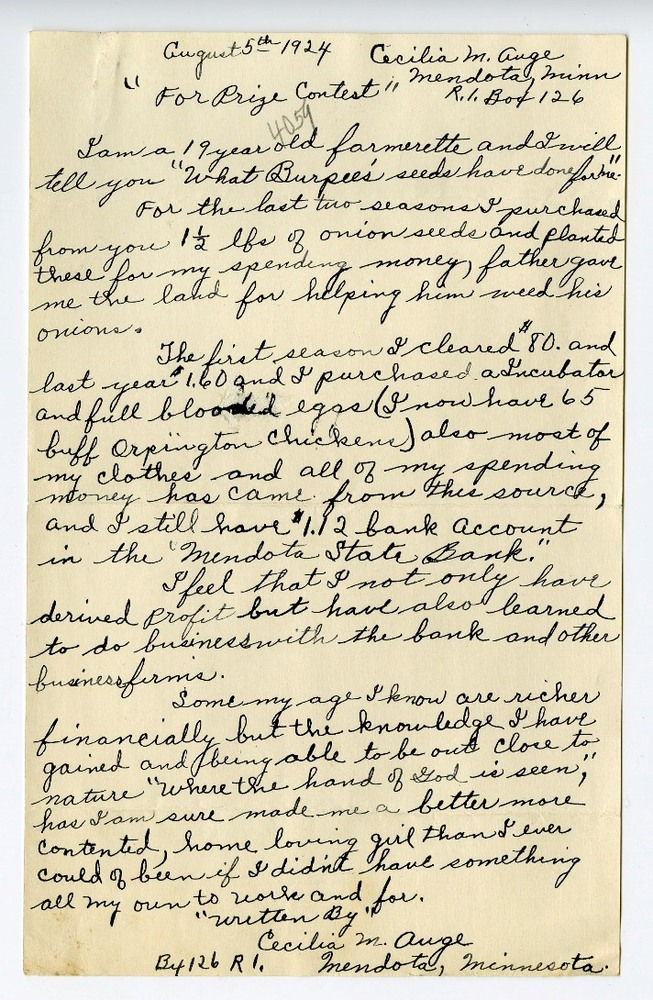 Cecilia Auge's contest letter to Burpee & Company, circa 1924. Smithsonian Institution, Archives of American Gardens, W. Atlee Burpee & Company Records.