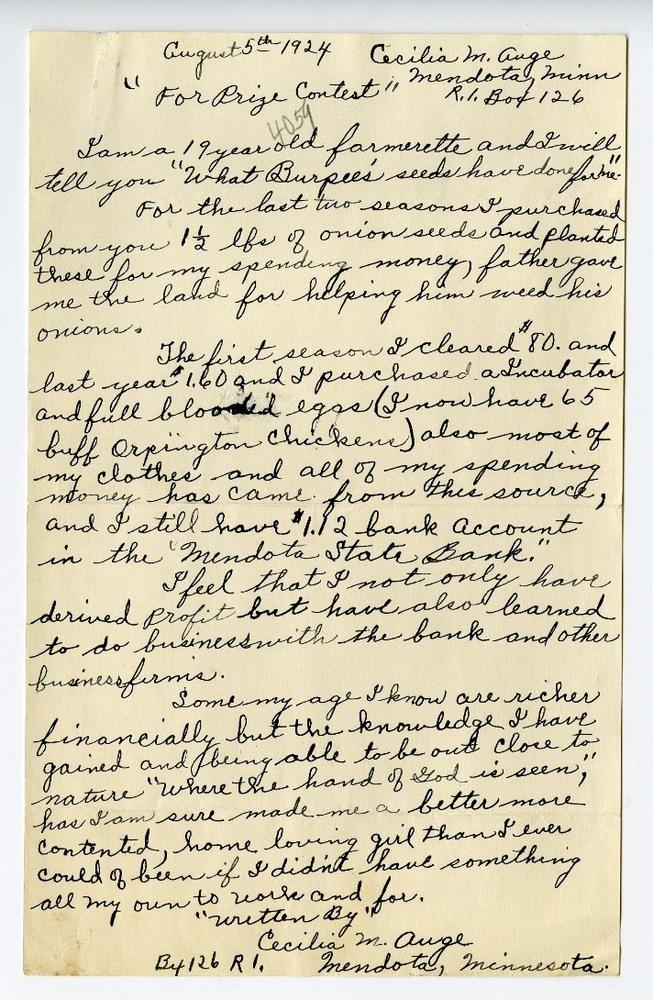Cecilia Auge's contest letter to Burpee & Company, circa 1924