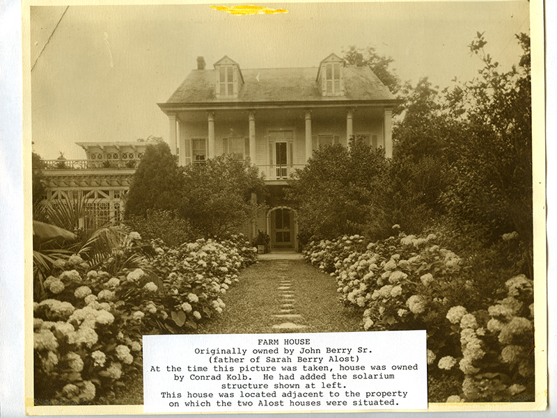 Home of John Berry and family, located next to the Rosa Villa nursery on Old Gentilly Road in New Orleans.