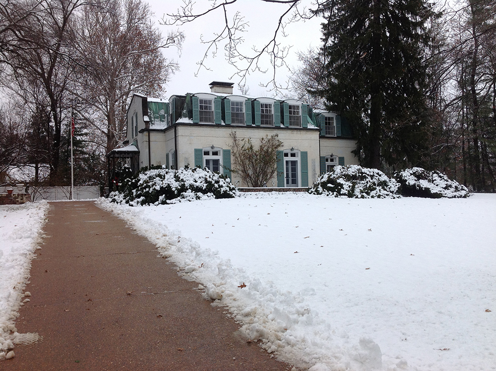 Winter view of the residence from the property entrance