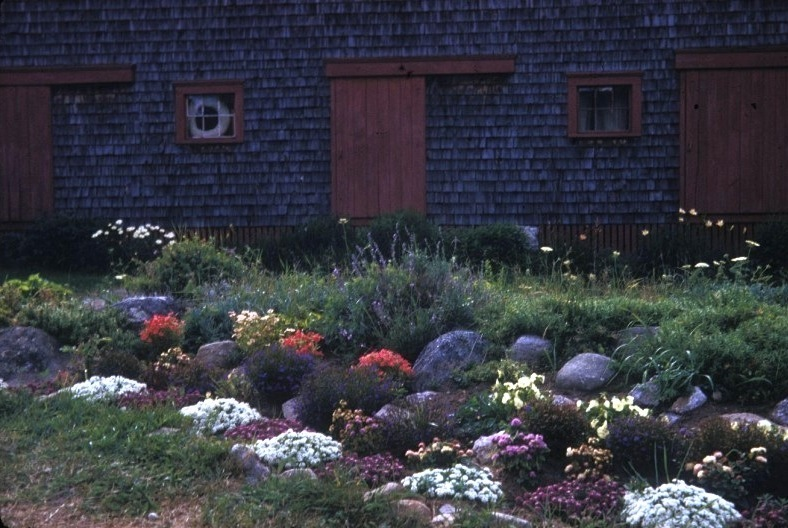 Upon arrival in the late sixties, campers were greeted with this welcoming garden beside the Climbing Barn.