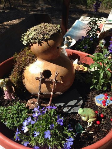 """Gnomes and Fairies Welcome!"" from the 'Small Worlds' workshop given by artist Suja Pritchard at the garden."