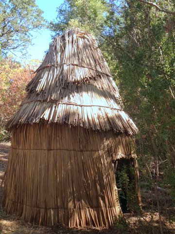 A traditional Miwok hut on the grounds of the Lafayette Community Garden is used as an educational space to celebrate the Saclan and Miwok American Indian culture and history.