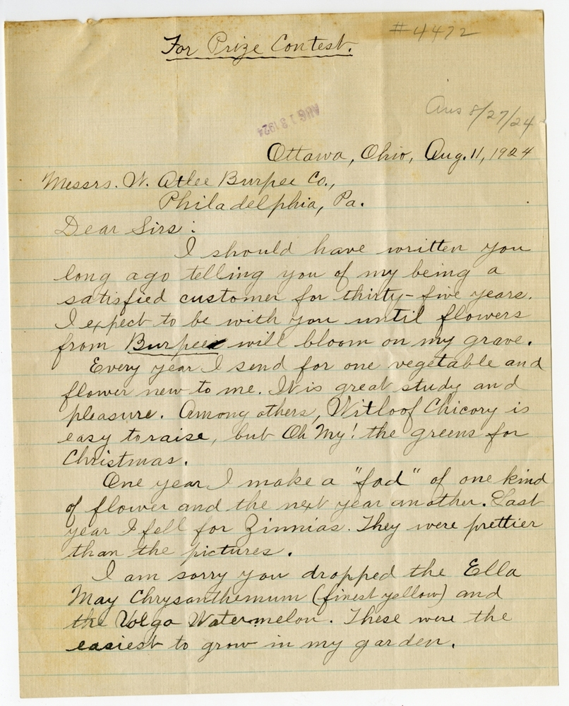 First page of August Heckman's contest letter to Burpee & Company, circa 1924
