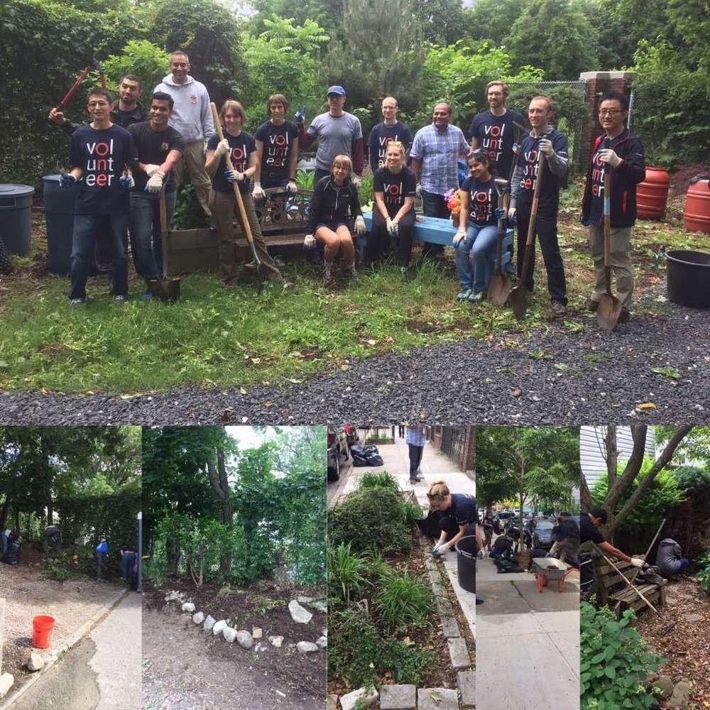 Volunteers celebrate their hard work