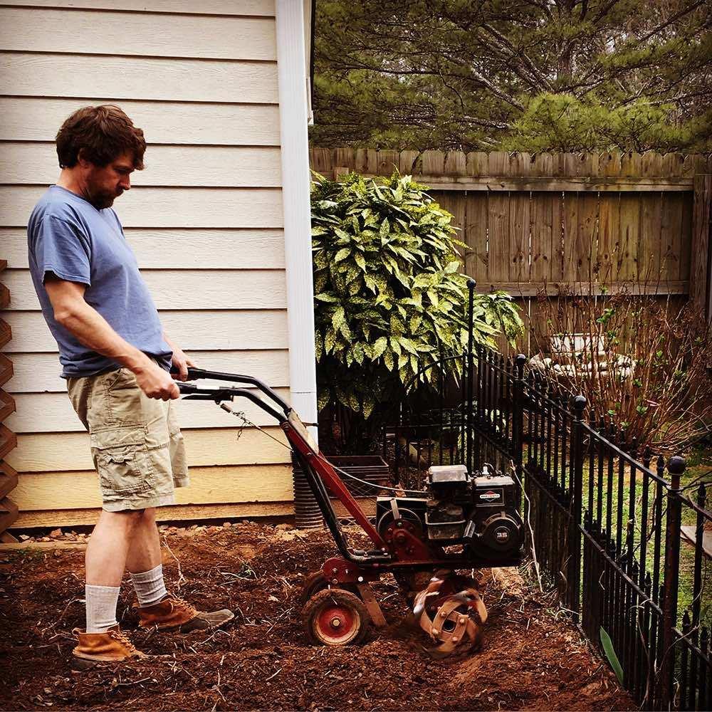 Tilling the garden