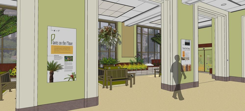 Exhibit design for the Garden Lounge