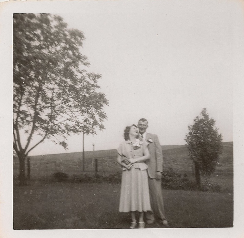 Wedding portrait of Joan and Harold