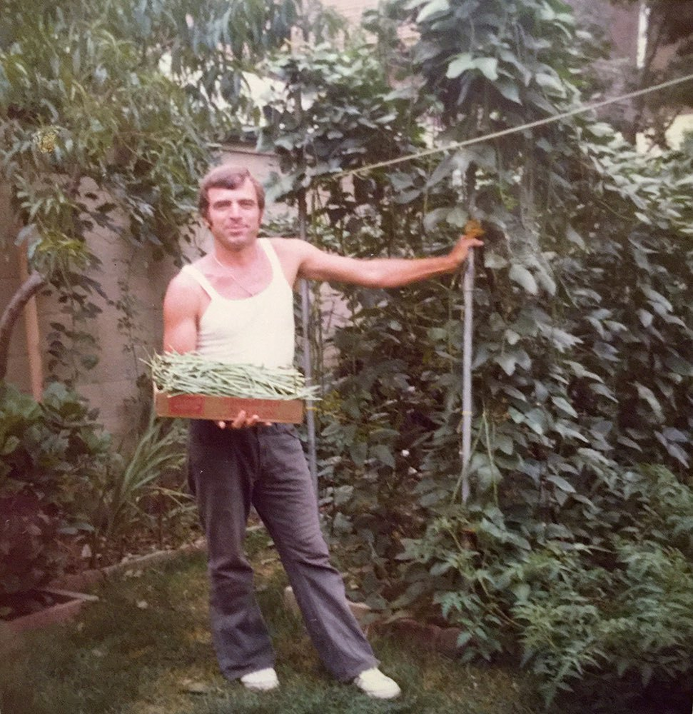 My father Nicola Ranieri holding his string bean harvest