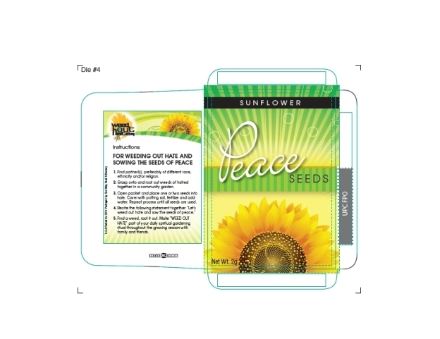 Design for Weed Out Hate sunflower seed packets.