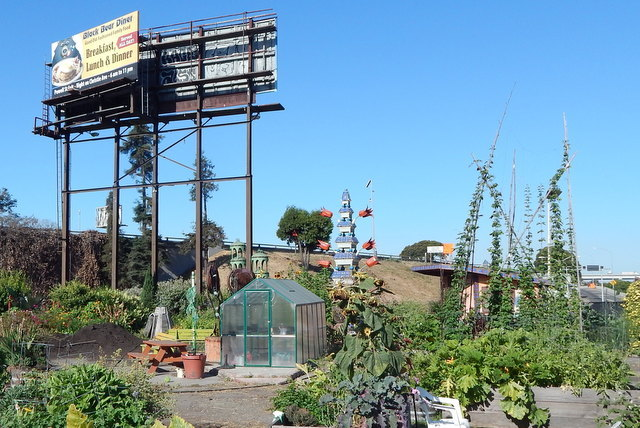 A view of the billboard that hovers over Big Daddy's Community Garden, right next to the Interstate 580.