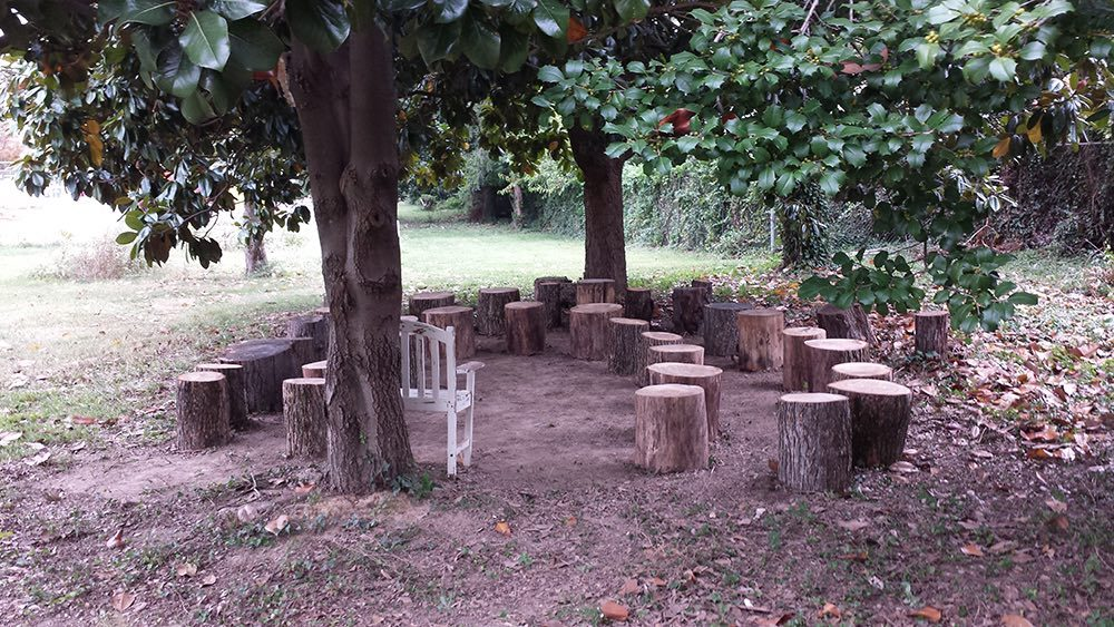 An outdoor classroom space