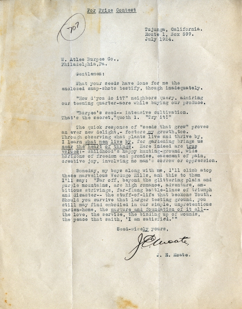 J.E. Moate's contest letter to Burpee & Company, circa 1924. Smithsonian Institution, Archives of American Gardens, W. Atlee Burpee & Company Records.