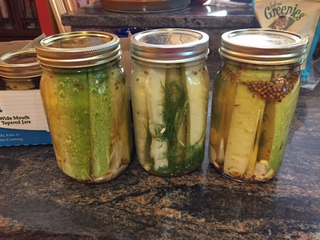 Home pickles from garden cucumbers grown & canned by the author of this story.