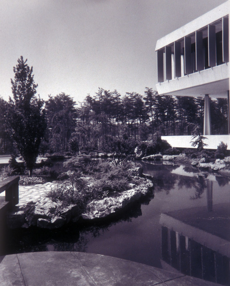 The Capitol Car Distributors headquarters was designed by Mills, Petticord and Mills. Stewart Brothers, photographers, circa 1966. Smithsonian Institution, Archives of American Gardens, Garden Club of America Collection.