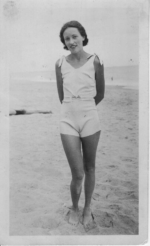 Susan's mother Edna in 1924 at Virginia Beach.
