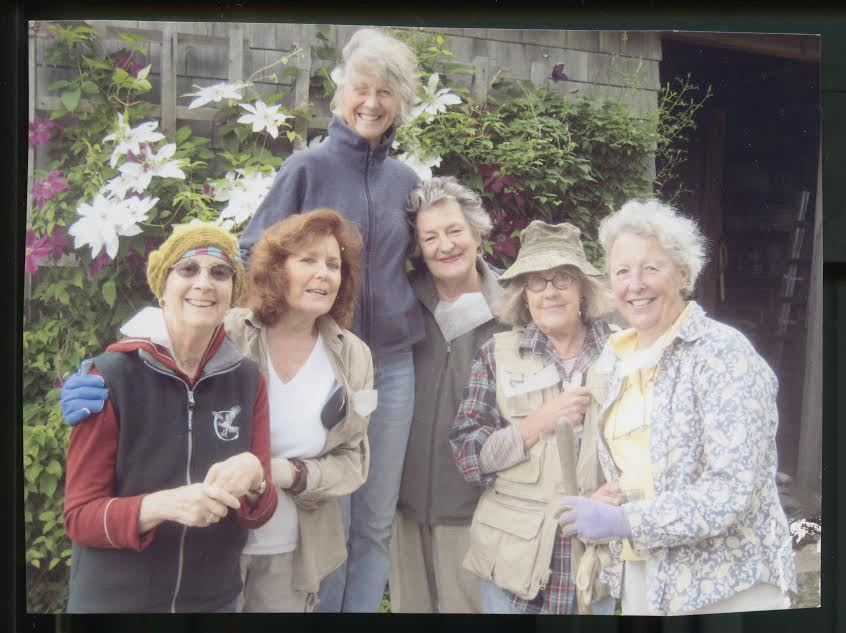 The Ladies of the Dirt. L to R: Pansy, Poppy, Verbena, Peony, Zinnia and Lupine (L to R: Margaret Ellis, Patti Mendes, Sara Walbridge, Susie Stedman, Jan Slater, and Lisa Paige.)