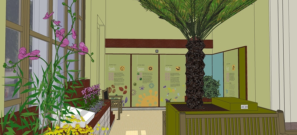 Initial exhibit design for the garden lounge