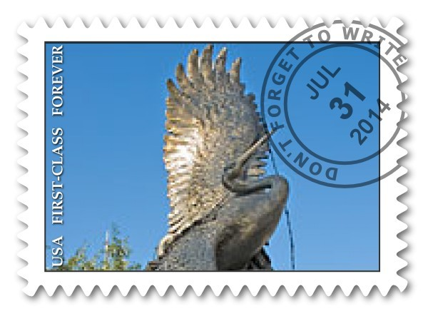 This design for a semi-postal stamp created by the group prominently features the Akamu sculpture. Semi-postal stamps are issued to raise money for charitable causes.