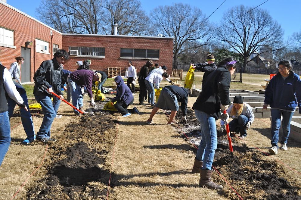 Building the garden at White Station High School