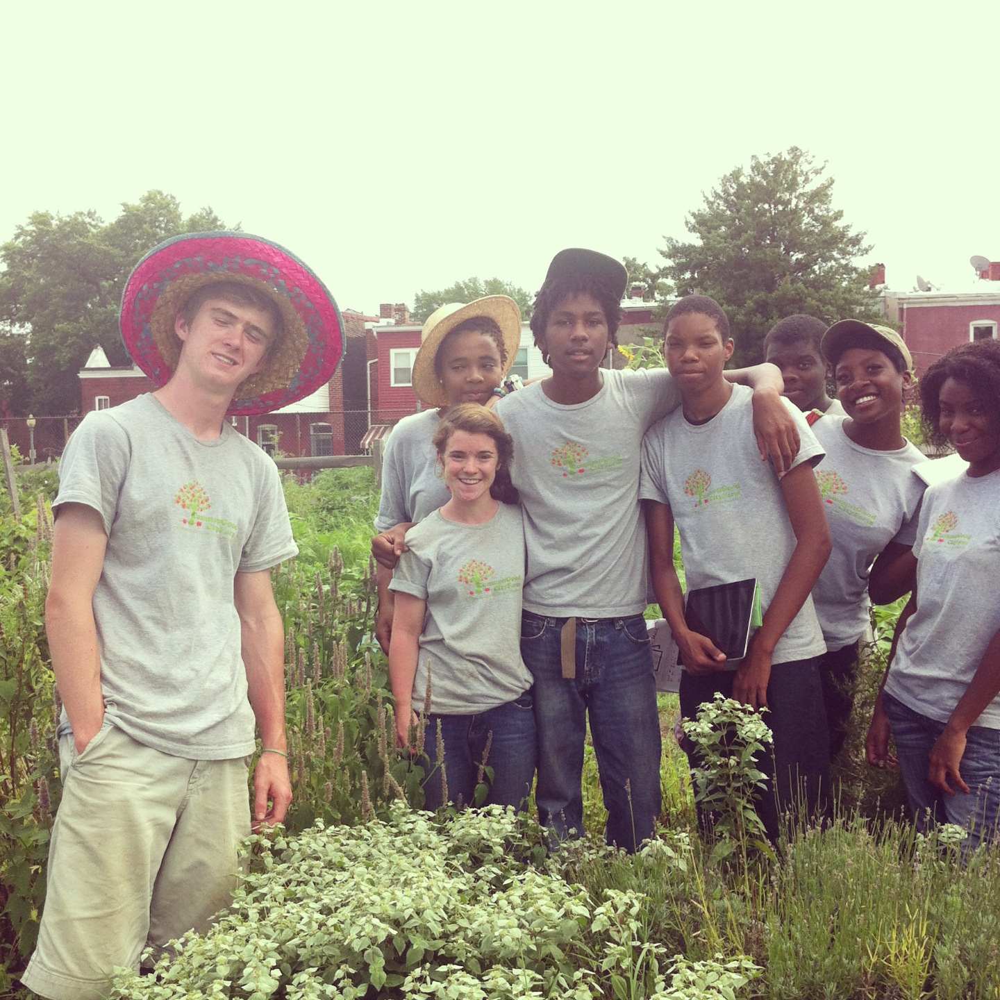 Students at Common Good City Farm, 2014.