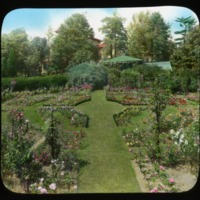 Breeze Hill garden pathway with parterre, circa 1930. Smithsonian Institution, Archives of American Gardens, J. Horace McFarland Collection.