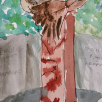 Watercolor by Carol Morris of Nina Akamu's sculpture in the Memorial to Japanese-American Patriotism in World War II. The 2000 sculpture depicts two cranes caught in barbed wire.