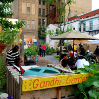 Entrance to the Gandhi Garden, a community garden and exhibition space in Trenton, New Jersey.